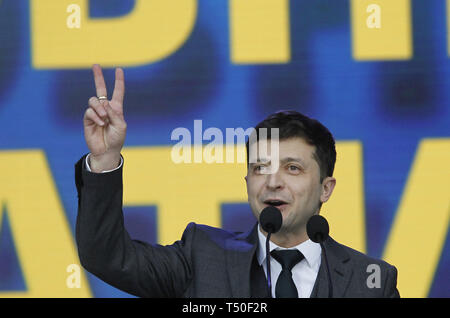 Kiev, Kiev, Ukraine. 19th Apr, 2019. Ukrainian comic actor Volodymyr Zelensky is seen during the presidential candidates debates at the Olimpiyskiy stadium in Kiev, Ukraine. The second round of presidential elections will be held on April 21, 2019. Credit: Pavlo Gonchar/SOPA Images/ZUMA Wire/Alamy Live News - Stock Image