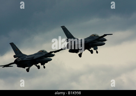 Two F-16 Viper fighters flying in close formation ready for landing, Airshow Maribor 2008, Slovenia June 15, 2008 - Stock Image