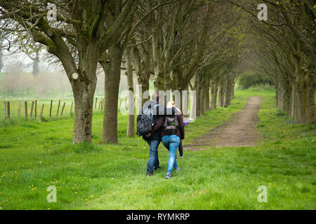 Couple walking through Lime tree Walk at Castleward in County Down - Stock Image