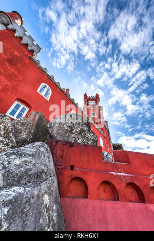 Red walls of Pena palace. Portugal - Stock Image