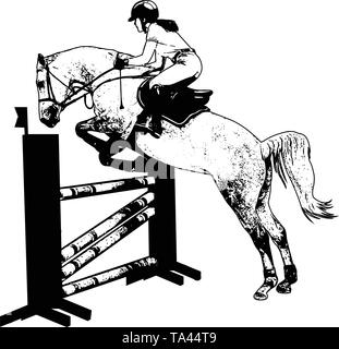jumping show. horse with jockey jumping a hurdle sketch illustration - vector - Stock Image