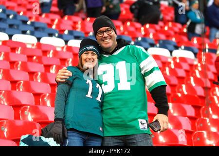 London, UK. 28 October 2018.   Fans  at the Eagles at Jaguars - credit Glamourstock Credit: glamourstock/Alamy Live News - Stock Image