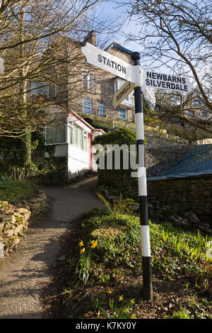 An example of a Numbered Fingerpost of Westmorland sited near the Beach Walk Cafe at Arnside. - Stock Image