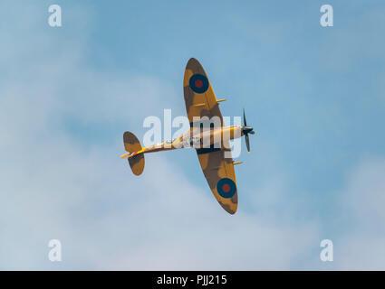 RAF BBMF Spitfire at RIAT 2018, RAF Fairford, UK - Stock Image
