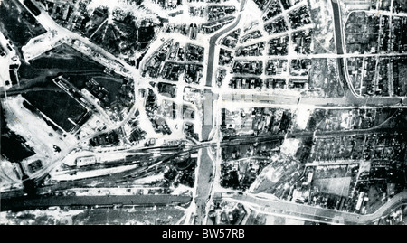 Photo after attacks on Mannheim Germany in mid December 1940 showing damaged docks & railway sidings - Stock Image