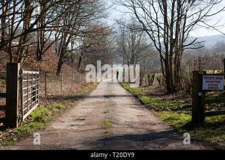 Solitary man walking along country lane, Copley, West Yorkshire - Stock Image