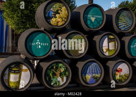 JEREZ DE LA FRONTERA, ANDALUSIA / SPAIN - OCTOBER 11 2017: WINE CASKS ON JEREZ STREET - Stock Image
