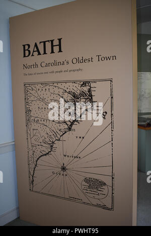 A Map of Bath, North Carolina displayed in the Van Der Veer House Museum.  Bath is the oldest town in North Carolina. - Stock Image