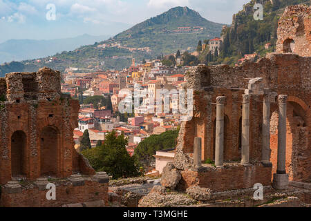 Aerial view of Taormina, Sicily, Italy - Stock Image