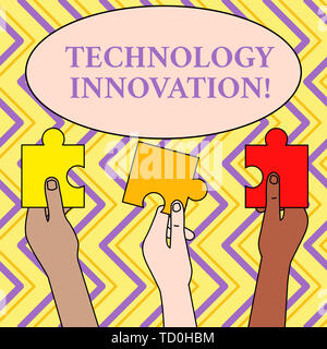 Writing note showing Technology Innovation. Business concept for advanced net connected devices a Creative Technique Three Colored Empty Jigsaw Puzzle - Stock Image
