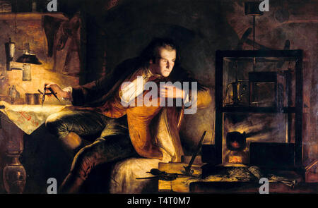 James Eckford Lauder, James Watt and the Steam Engine, the Dawn of the Nineteenth Century, Industrial Revolution, painting, 1855 - Stock Image