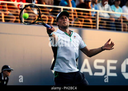 New York, United States. 29th Aug, 2018. Flushing Meadows, New York - August 29, 2018: US Open Tennis: Andreas Seppi of Italy during his second round match against Denis Shapovalov of Canada at the US Open in Flushing Meadows, New York. Shapovalov won the match in five sets to advance to the third round. Credit: Adam Stoltman/Alamy Live News - Stock Image