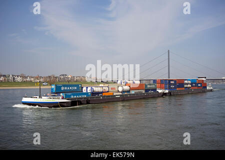 Millennium II barge loaded with containers, river Rhine, Dusseldorf, Germany. - Stock Image