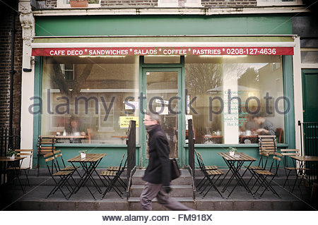 Cafe Deco exterior in the winter season, in Store Street (WC1), Bloomsbury, central London, UK. - Stock Image