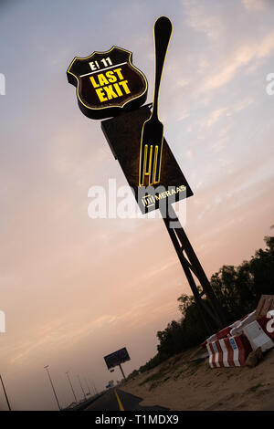 Last Exit is a first-of-its-kind themed food truck concept based on blockbuster movie 'Mad Max' - Stock Image