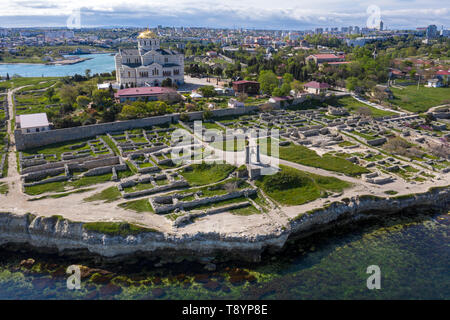 Aerial view of St. Vladimir's Cathedral and ruins of Chersonesus an ancient greek colony in nowadays Sevastopol, The Crimean peninsula - Stock Image