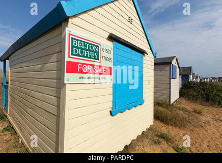 Beach hut for sale at Heacham on the Norfolk coast. - Stock Image