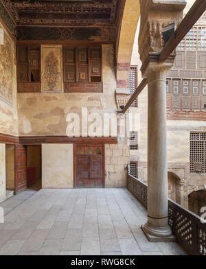 Terrace at ottoman era historic Beit El Set Waseela building (Waseela Hanem House), Old Cairo, Egypt - Stock Image