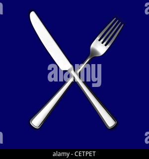 A still life shot of a knife and fork crossed on a blue background (any colour background available on request) - Stock Image