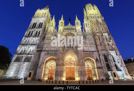 The famous Notre-Dame de Rouen cathedral at twilight, Rouen, France. It has the tallest church spire in France and a wealth of art, history, and archi - Stock Image