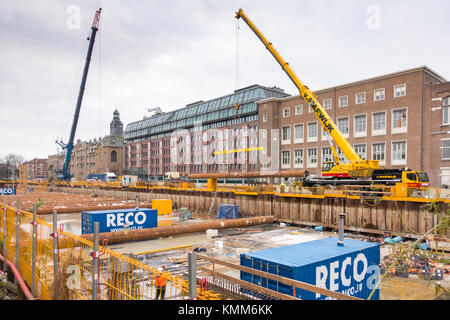 Amsterdam, the Netherlands, 6 December 2017. Construction of the North/South subway line on the drained canal 'Boerenwetering' - Stock Image