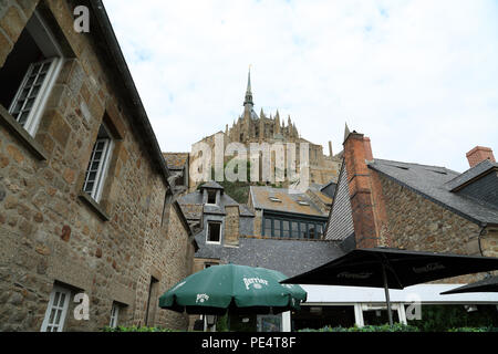 View of the Abbey from Remparts, Le Mont Saint Michel, Manche, Normandy, France - Stock Image