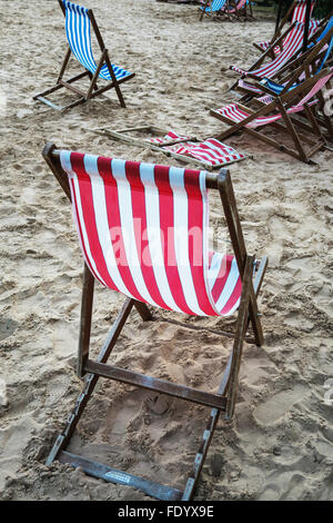 Empty deck chairs. - Stock Image
