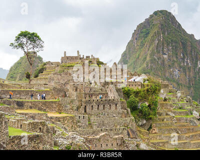 View of the Machu Picchu citadel in a cloudy day - Stock Image