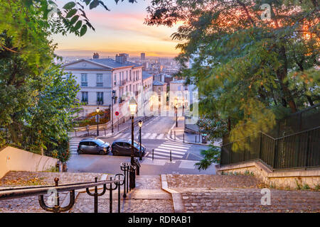 Montmartre staircase, Paris, France - Stock Image