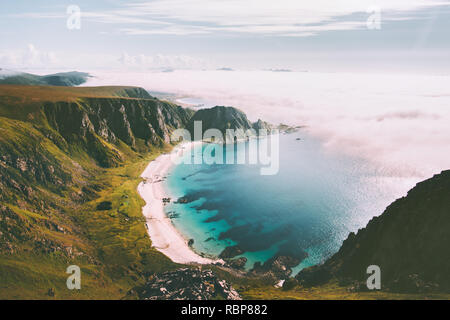 Sea beach landscape in Norway idyllic aerial view summer travel vacations nature scenery seaside and mountains - Stock Image