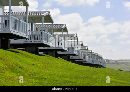 Static Caravans with a sea view,Riviere Sands Holiday Park,Riviere Towans Hayle,Cornwall,England,UK - Stock Image