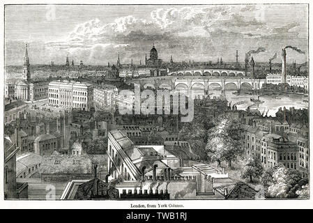 London, from York Column.      Date: circa 1830s - Stock Image