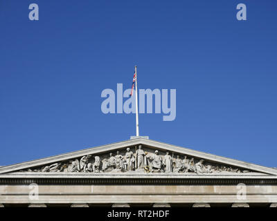 Frieze above the entrance of the British Museum in London, UK - Stock Image