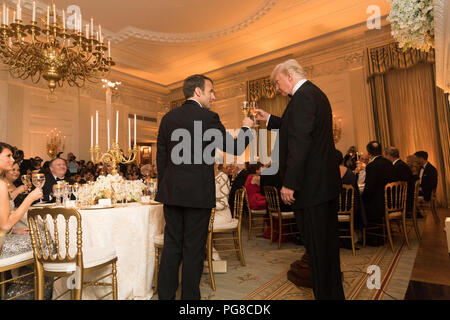 President Trump and the First Lady at a state dinner with the President of France and Mrs. Macron The Official State Visit of France - Stock Image