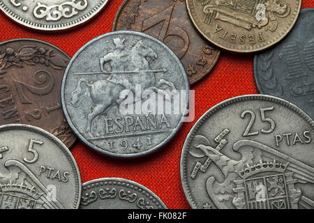 Coins of Spain under Franco. Lancer on horseback depicted in the Spanish 10 centimos coin (1941). - Stock Image