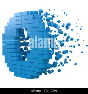 letter O shaped data block. version with blue cubes. 3d pixel style vector illustration. suitable for blockchain, technology, computer and abstract th - Stock Image