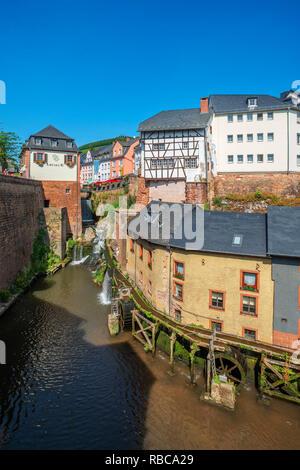Historical Hackenberger mill and Leuk waterfalls, Saarburg, Rhineland-Palatinate, Germany - Stock Image