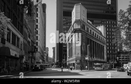 The Wood Street 'T' Station is at the corner of Liberty Avenue and Wood Street in downtown Pittsburgh, Pennsylvania, USA - Stock Image