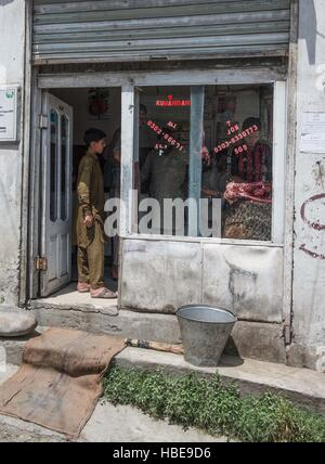 Butcher's shop in Chitral - Stock Image