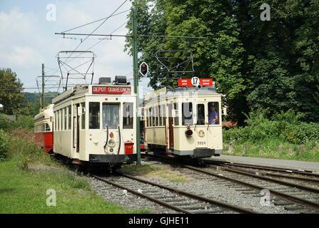 ASVi Tramway Museum 1936 Eugies Tram No. 10284 & M2 No.9924 - Stock Image