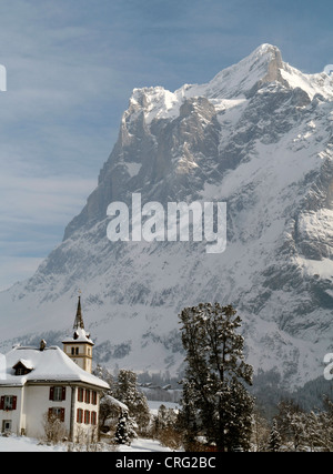 Grindelwald skiing region in Interlaken-Oberhasli Switzerland Eiger mountain - Stock Image