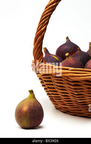 Fresh Figs in Basket - Stock Image