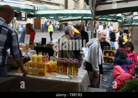 Frome Independent market,Artisan products stall at the monthly market.Frome, Somerset.England. UK. - Stock Image