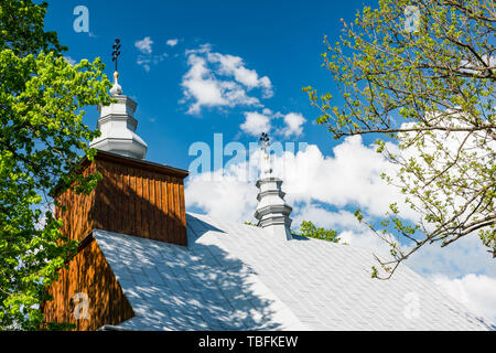 Orthodox wooden church in Lopienka village in Bieszczady mountains,Poland. - Stock Image