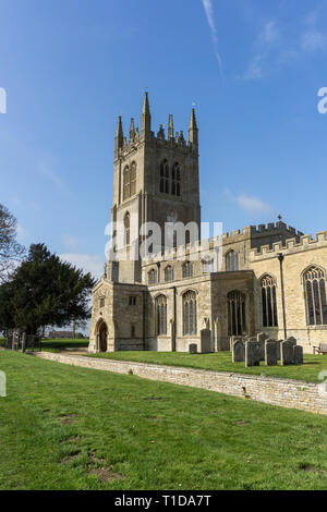 The church of St Mary the Virgin in the village of Titchmarsh, Northamptonshire, UK; earliest parts date from the 12th century with later restorations - Stock Image