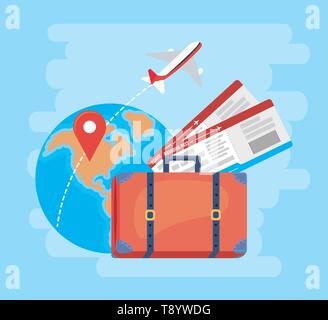 global map with location signs and airplane vector illustration - Stock Image