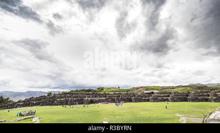 Views of the Sacsayhuaman fortress in a cloudy day - Stock Image