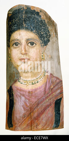 Mummy Portrait; Attributed to Malibu Painter, Romano-Egyptian, active 75 - 100; Hawara, Egypt, Africa; 75 - 100; - Stock Image