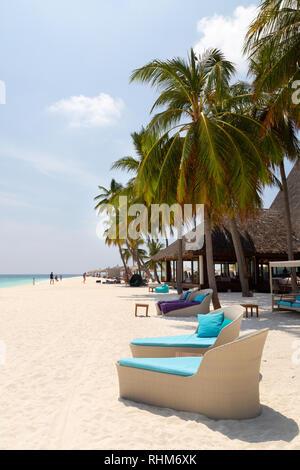 Maldives Resort - Veligandu island beach, Veligandu, Rasdhoo atoll, the Maldives, Asia - Stock Image