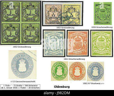 Oldenburger Briefmarken - Stock Image
